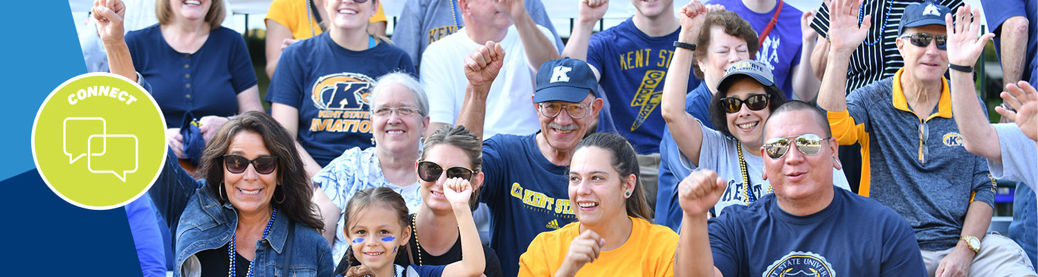 Photo of alumni in Kent State shirts, cheering, with the icon connect in the corner