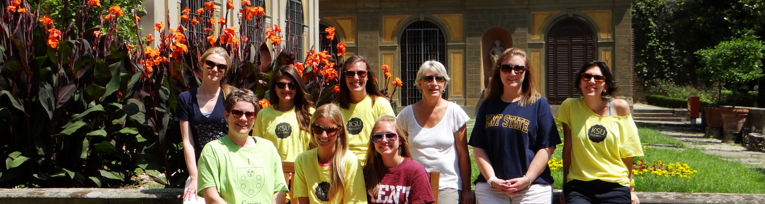 Students in the 2013 Museum Origins course pose for a photo outside Museo Stibbert in Florence, Italy.
