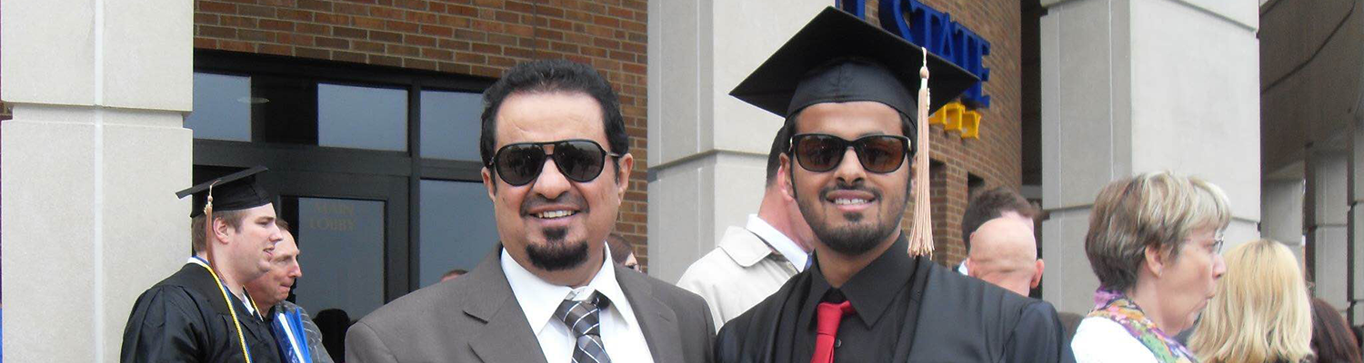Yousef Alqahtani (right) with his father at his recent graduation from Kent State.