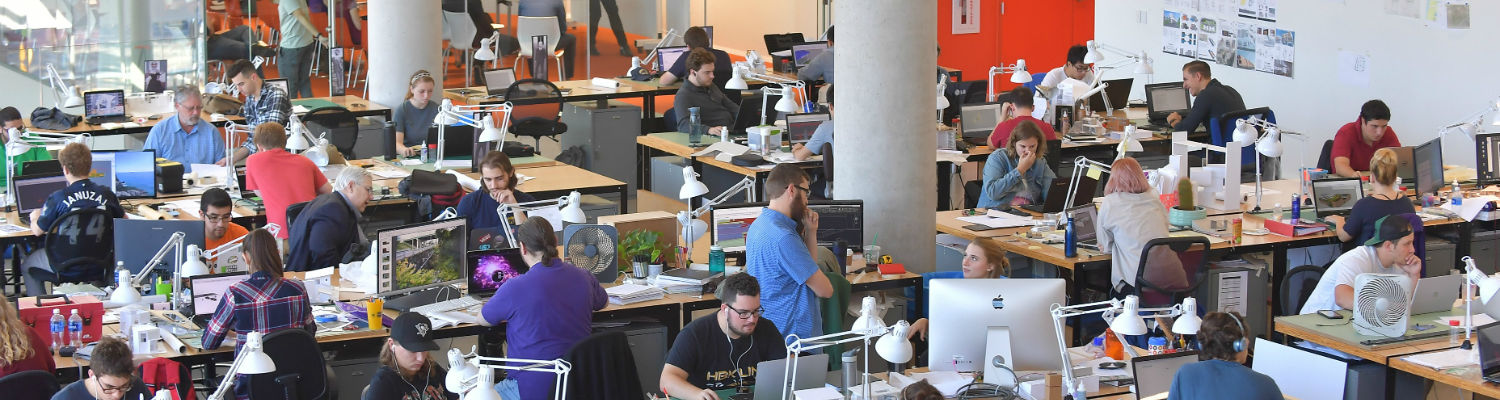 Architecture students hard at work