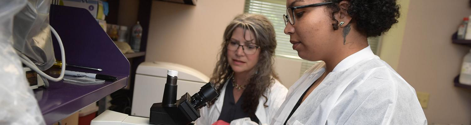 Kent State University student and faculty in Anthropology analyze a sample