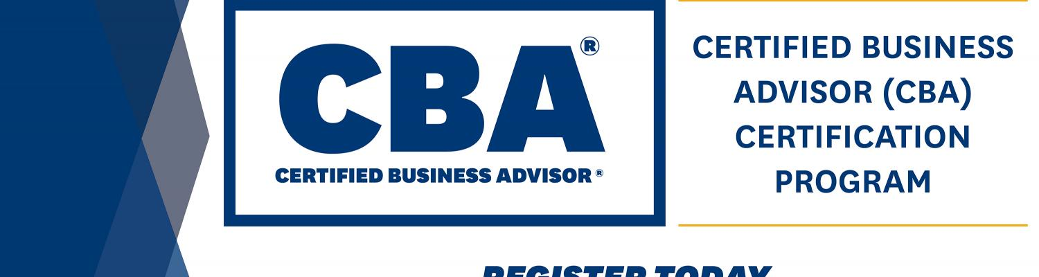 """Certified Business Advisor® Certificate that reads, """"Certificate for Professionals who work with SMES and Entrepreneurs. Register Today"""""""