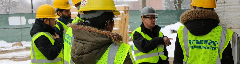 Construction Management students on a construction site