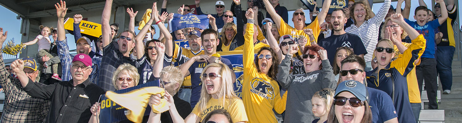 Alumni cheering during a Flashes game
