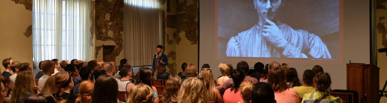 Students watch a presentation