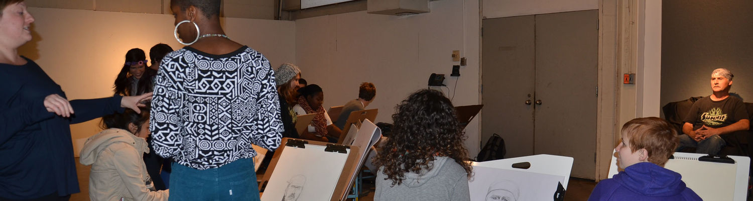 Students participating in a drawing class in the School of Art