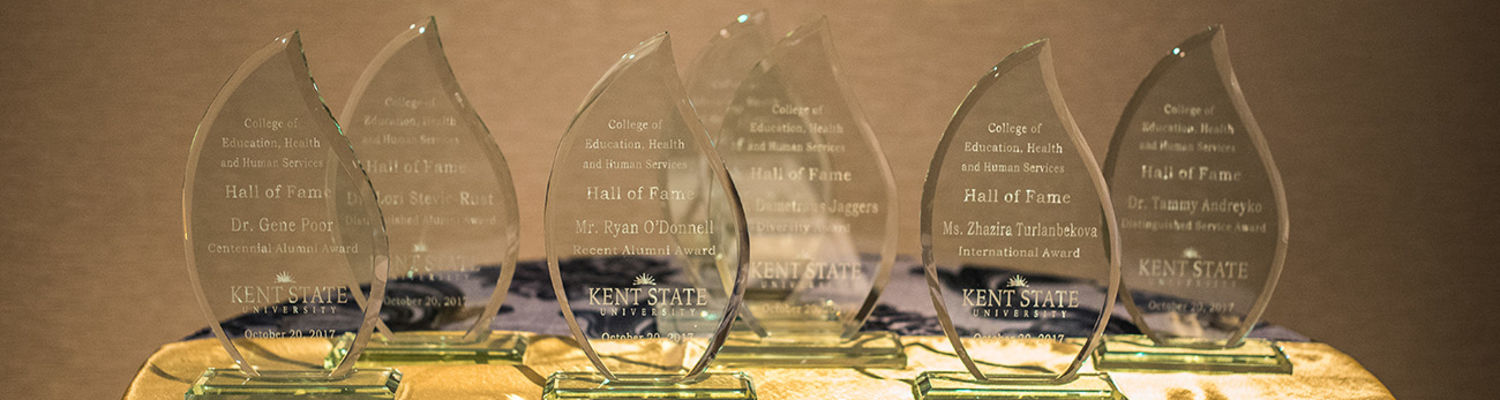 Glass Trophies for Hall of Fame Recipients