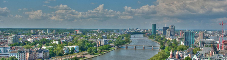 Image of a bridge covered waterway running through Frankfurt Germany