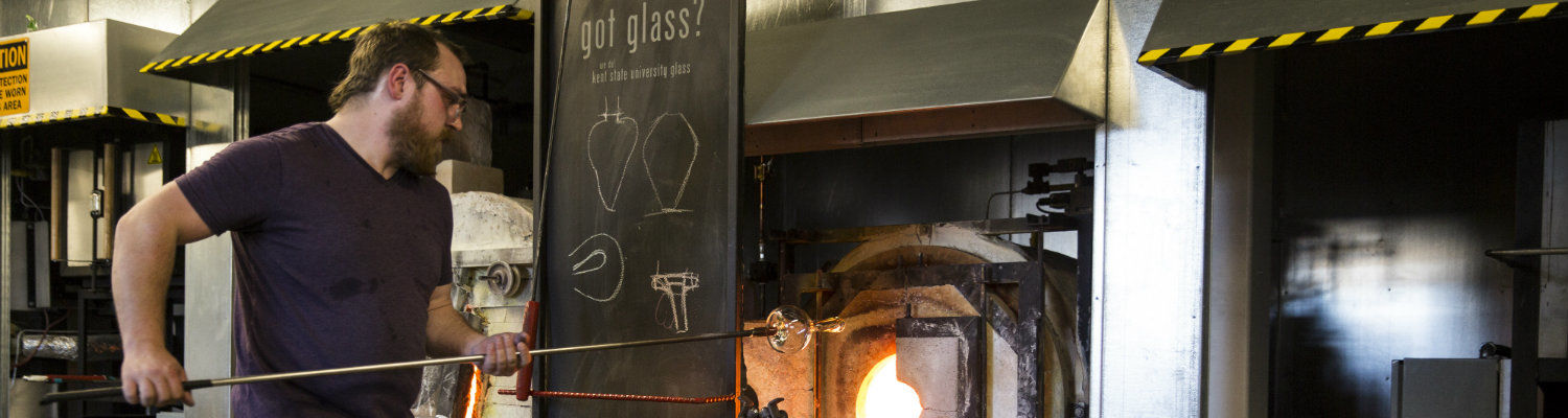 Glass blowing in the School of Art offers an opportunity for young artists to perfect their skills