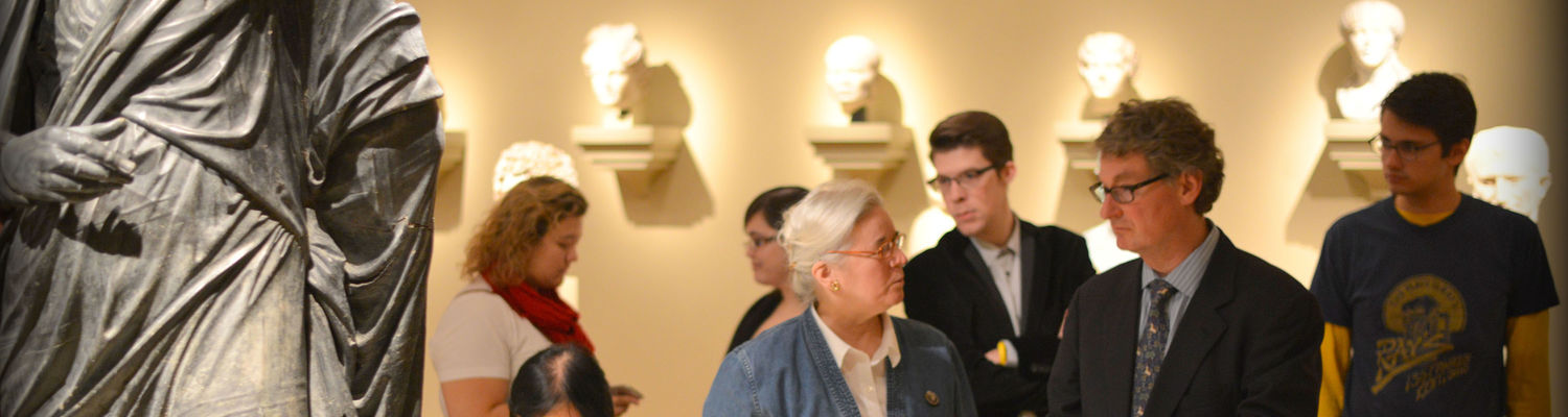 Art history faculty members Diane Scilia and Gustav Medicus lead a study-tour of the Cleveland Museum of Art