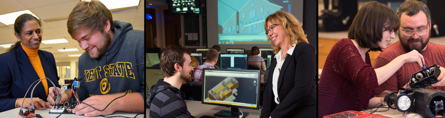 Professors and engineering technology students collaborating