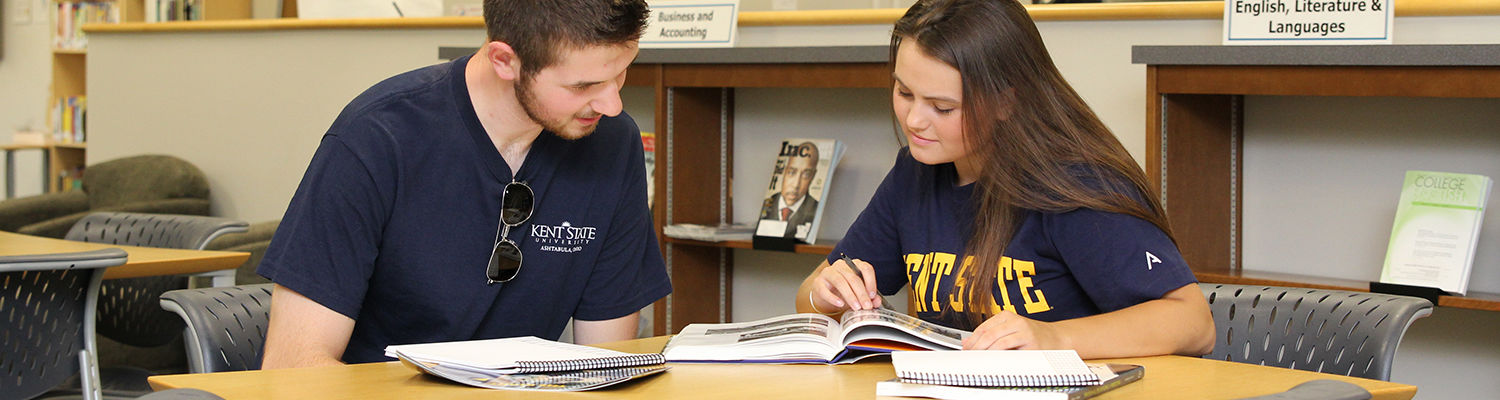 Ashtabula students studying in the library