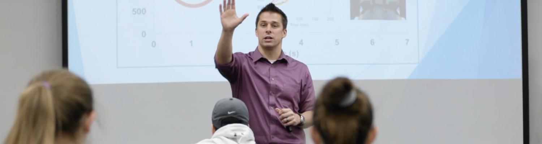 Dr. Adam Jajtner teaching an Exercise Science class