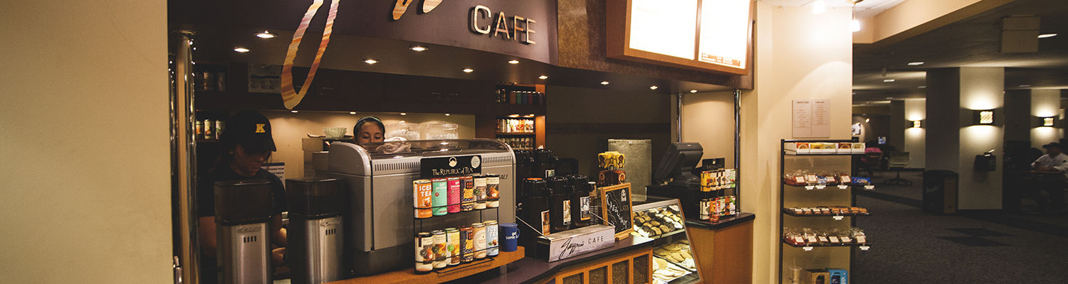 Jazzmans Cafe on the bottom floor of the Student Center Hub