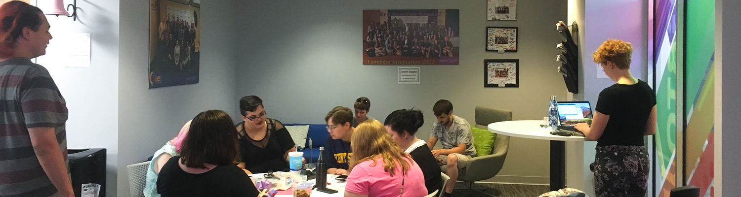 Students sitting at table studying