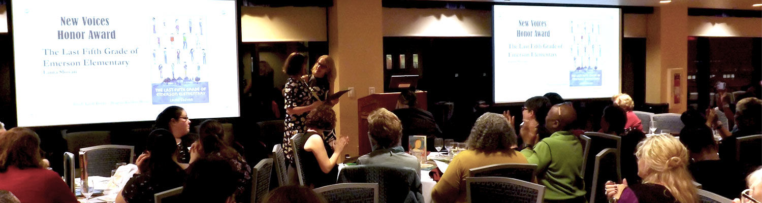 Laura Shovan receiving the Arnold Adoff Honor Poetry Award for New Voices, October 2018
