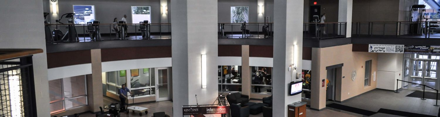 The lobby of the Kent State Student Recreation and Wellness Center