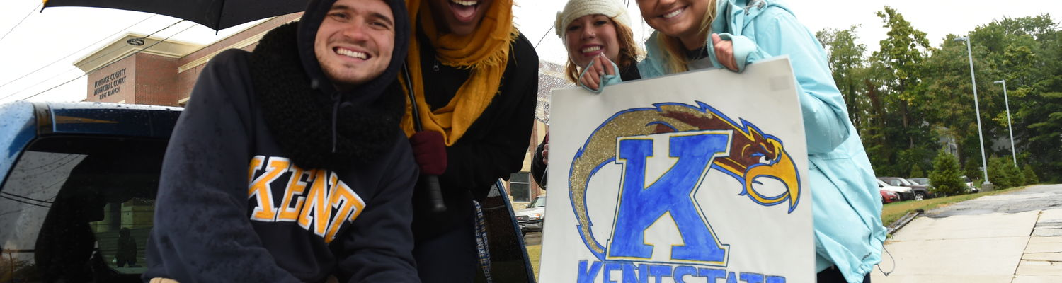 Kent Communication Society members participate in the Homecoming parade.