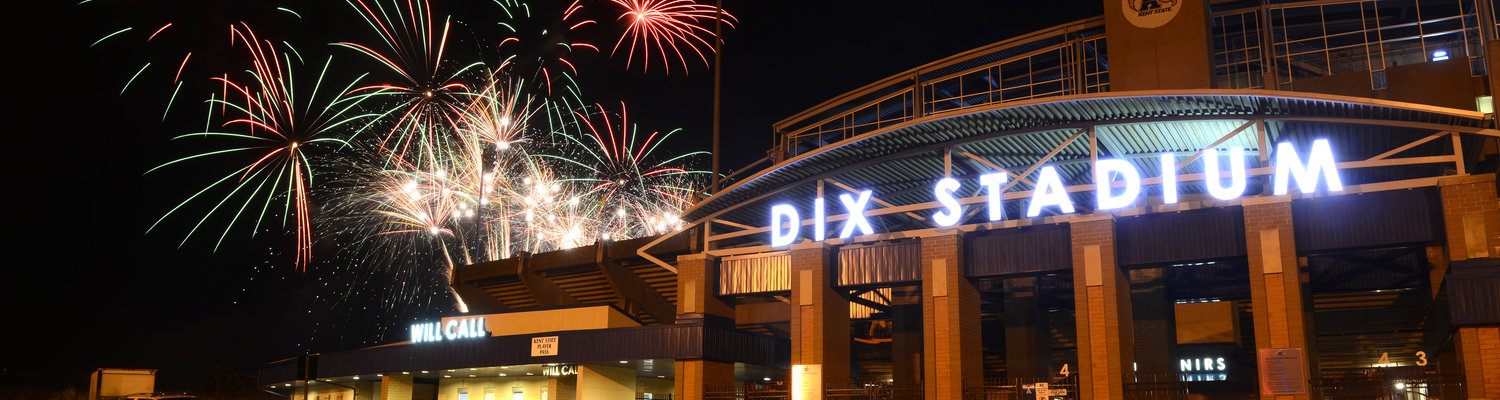 Fireworks explode over Dix Stadium after a night game