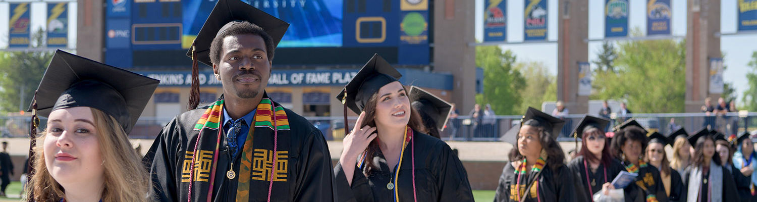 Students walking during commencement