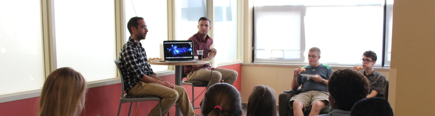 Jon Jivan and Dustin Lee share their films with a group of students in the CCI Commons