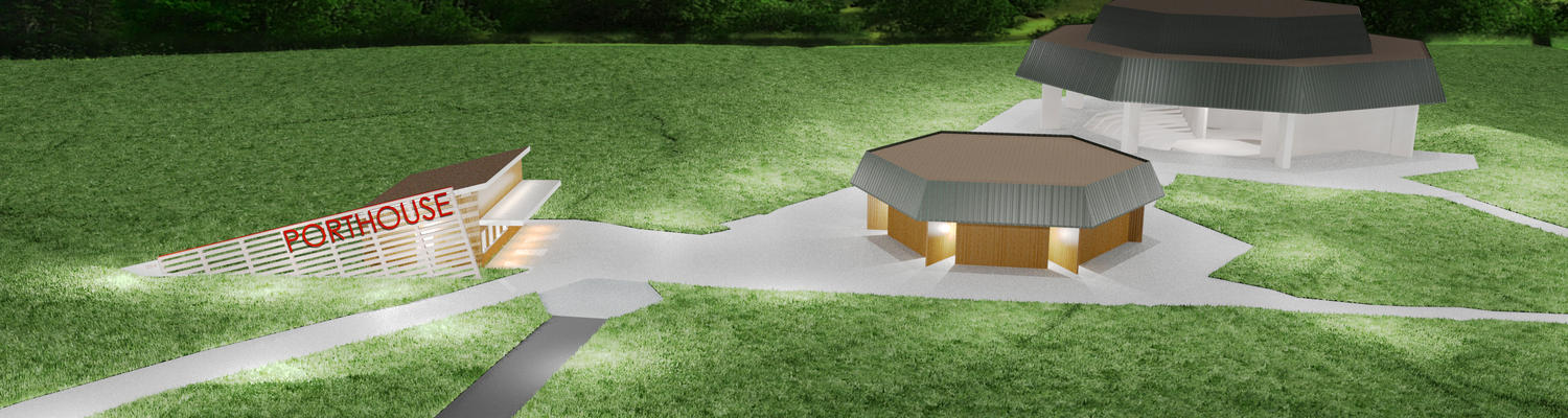A construction rendering displays the new box office (far left) on the Porthouse Theatre grounds.