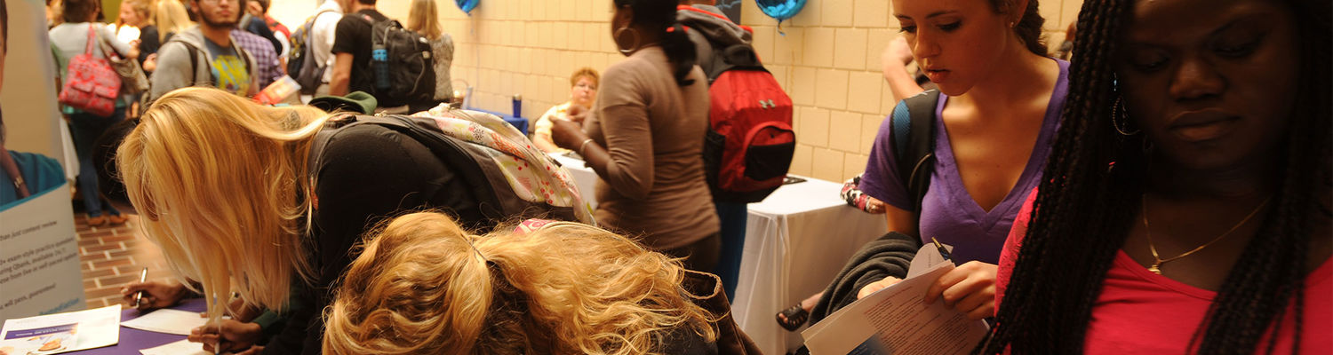 Nursing students learn about career opportunities during a bi-yearly job fair held in Henderson Hall