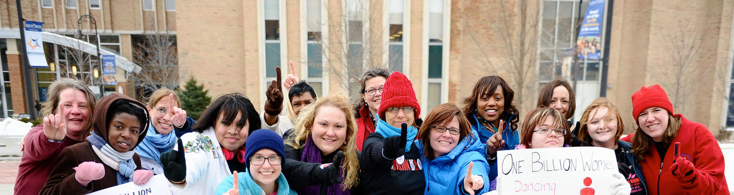 Students and staff stand together at Risman Plaza for One Billion Rising