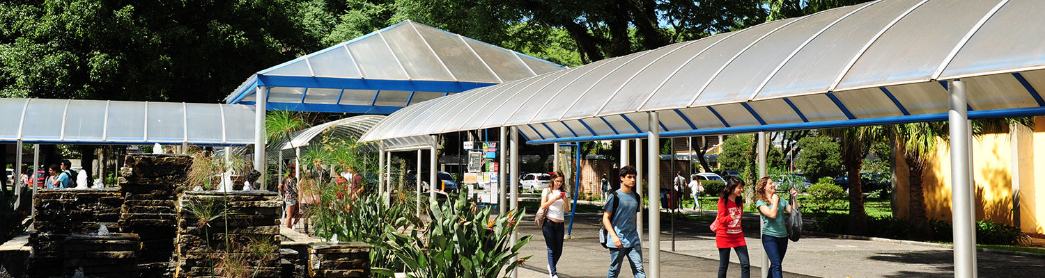 Students walking to classes at the American Academy in Curitiba, Brazil