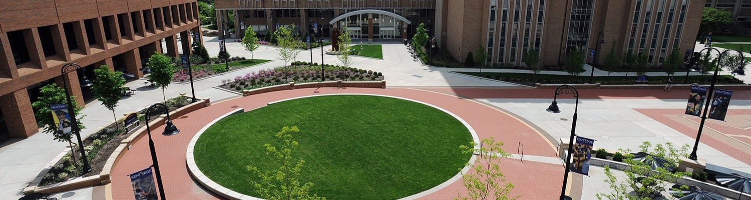 Aerial view of the Kent State Student Center plaza