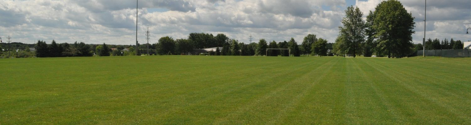 A large, soccer-sized recreation field open for use on a cloudy day