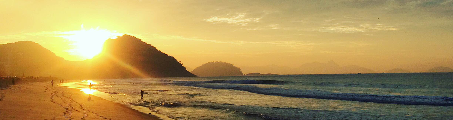 Students found time among their studies to admire the sunrise on Copacabana Beach.