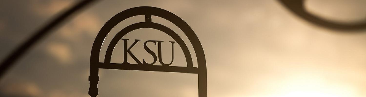 Sunset over Kent State sign