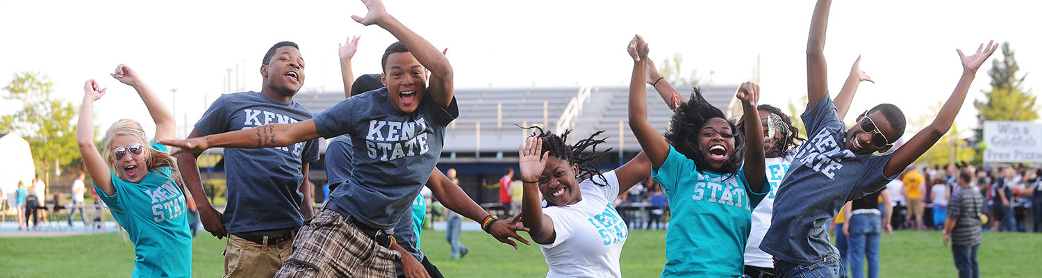 Incoming freshmen take a jump during the Welcome Weekend Back to School Blastoff held at the track behind the Deweese Health Center.