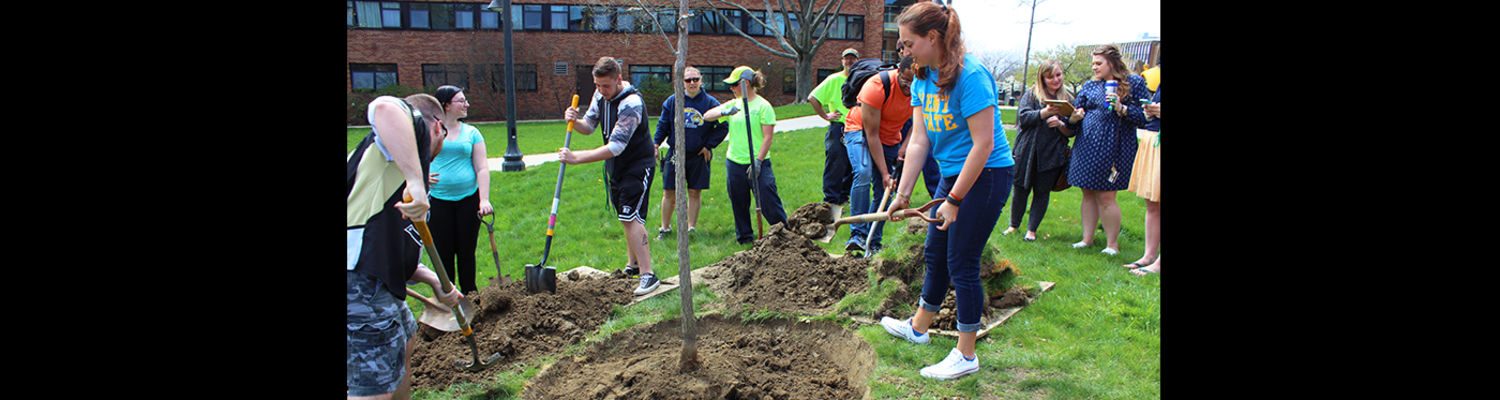 Students plant trees outside the residence halls