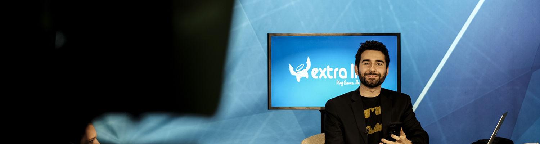 Student in television studio