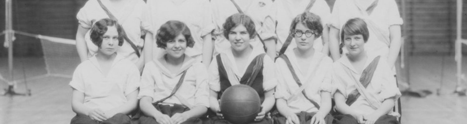 Women's intramural basketball team, the Midgets. Photograph appears on page 164 of the 1927 Chestnut Burr.