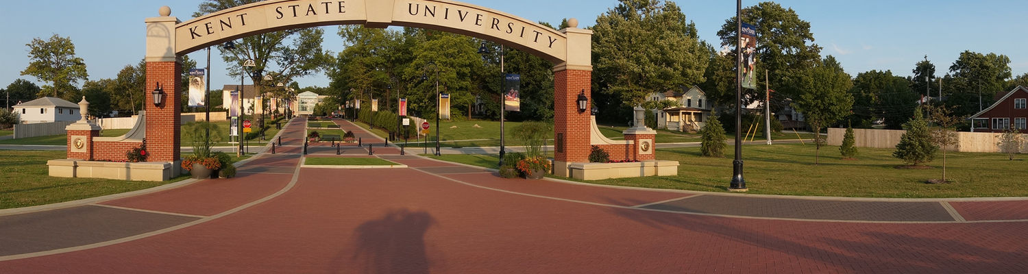 The Kent State University arch overlooks the campus entrance along the Lefton Esplanade