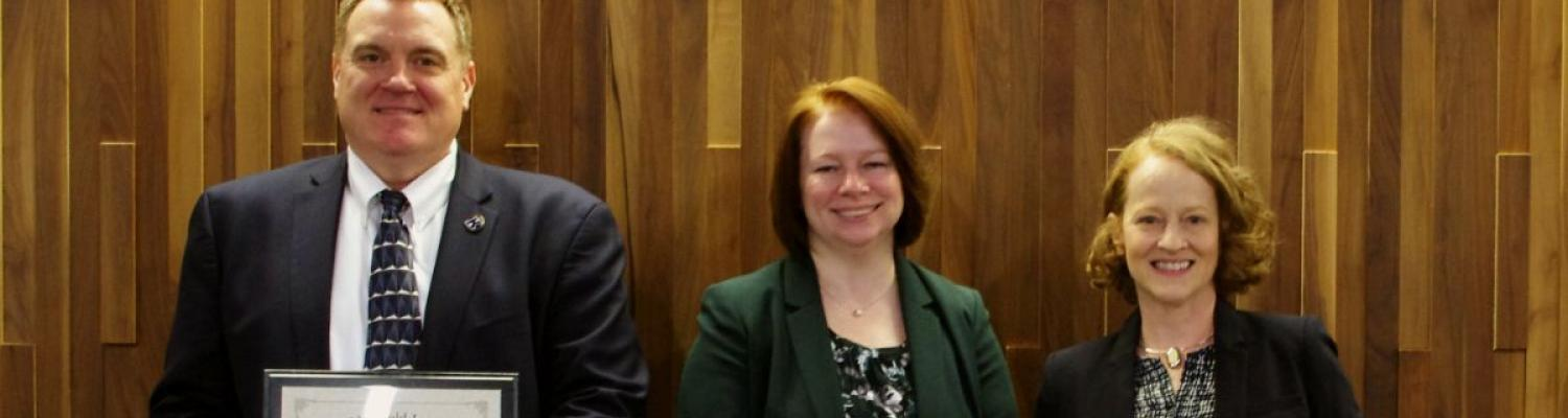 In photo: Doug Pearson - Associate Vice President, Facilities Planning and Operations; Melanie Knowles- Sustainability Manager; Laura A Stevenson- Ohio EPA Director