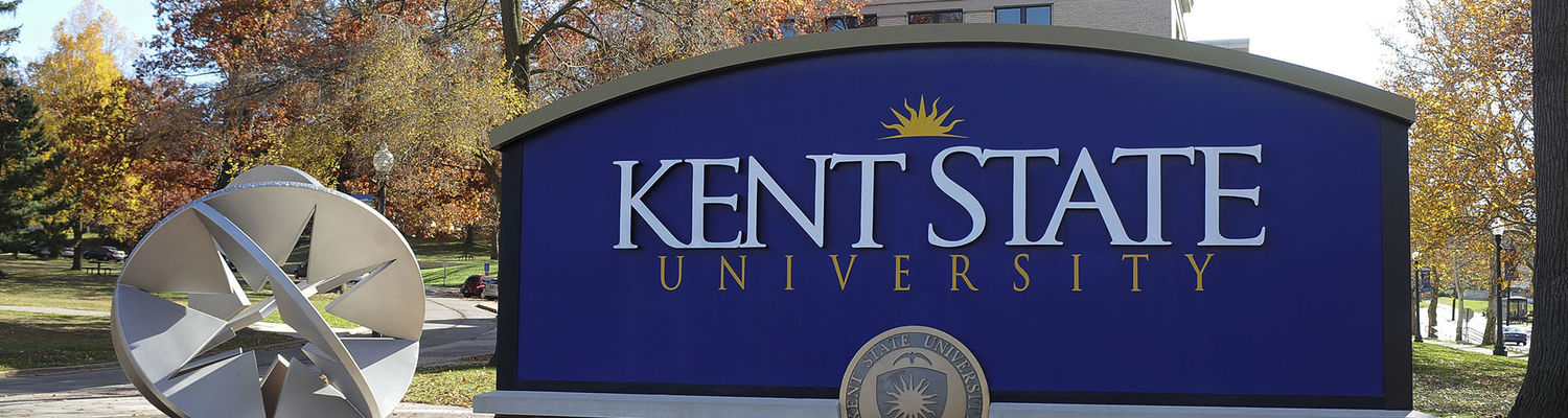 Kent State sign, outside on a sunny day
