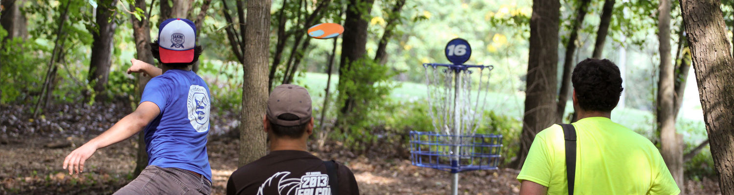 throwing disc at target in the woods