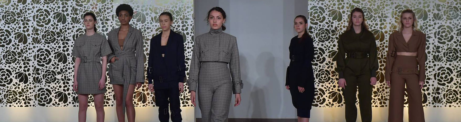 Models on runway during 2018 Fashion Show sporting looks by student Sierra Snow