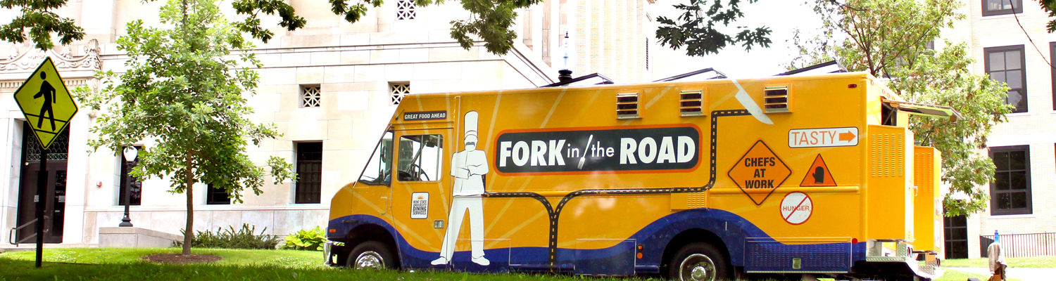 The Fork in the Road Food Truck parked in front of Franklin and McGilvery Hall