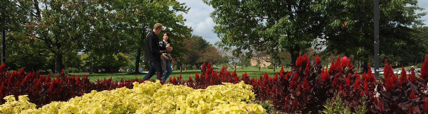 Two students walk to class through the Murin Gardens on the campus of Kent State University.