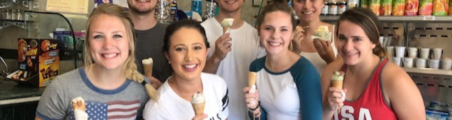 Kent State students on the first study abroad experience at the Kent State University Florence Health Institute enjoyed a gelato making class.