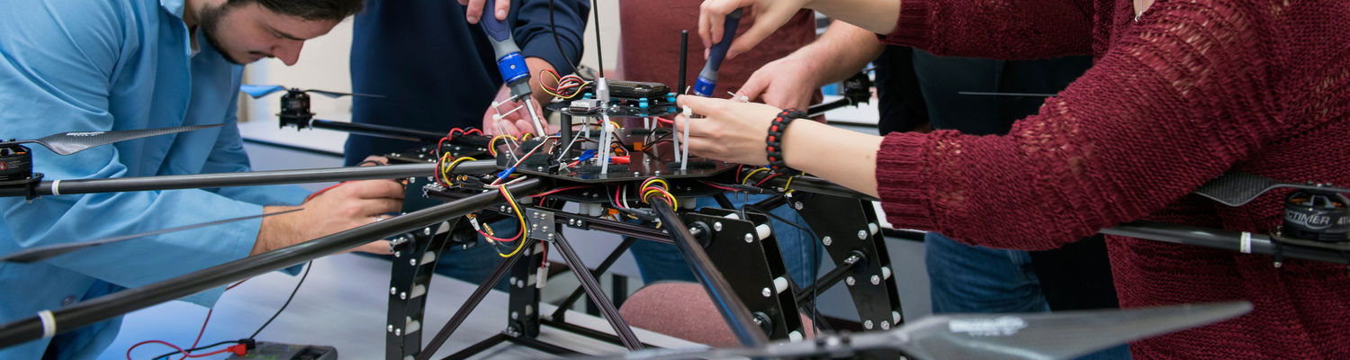 Students working on an unmanned drone