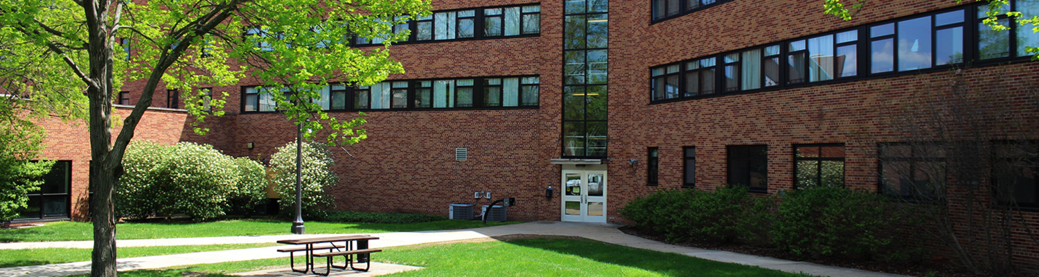 Outdoor view of the Olson Hall courtyard and entryway on a bright, sunny day