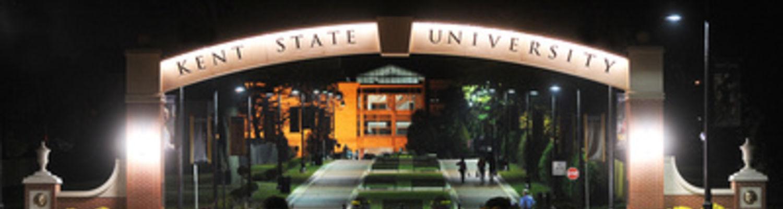 Kent State University arch lit at night