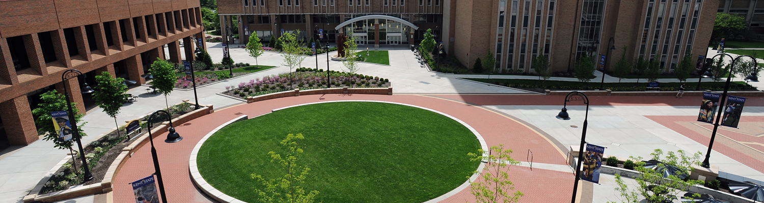 Aerial view of Risman Plaza on a bright, sunny day
