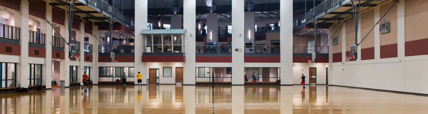The four basketball courts that make up the gymnasium portion of Kent State University's Student Recreation and Wellness Center.